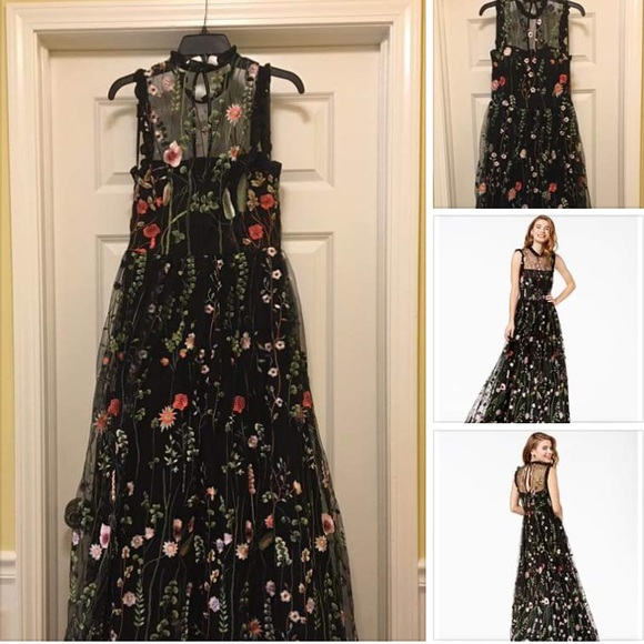 b96756ebd313a Ruffle Trim Embroidered Floral Prom/Formal Dress